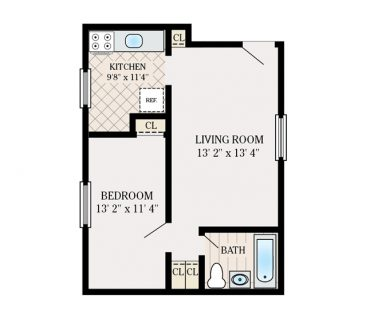 1 Bedroom 1 Bathroom. 433 sq. ft.