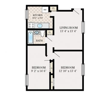 2 Bedroom 1 Bathroom. 550 sq. ft.